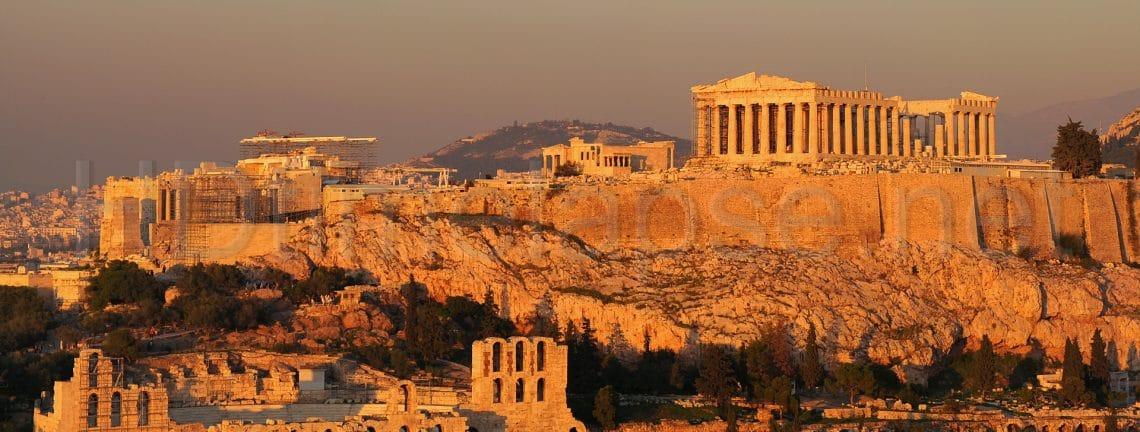 Vue sur l'acropole d'Athènes au coucher du soleil, Grèce, patrimoine