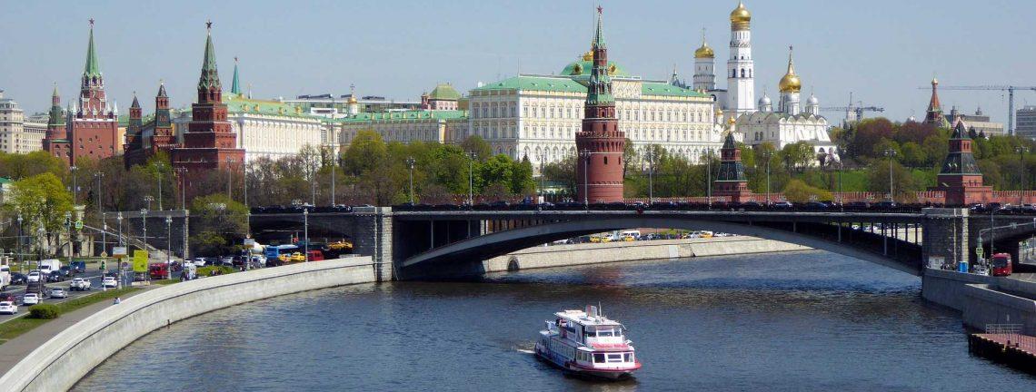 Vue sur Moscou, Russie, pont, bateau, architecture
