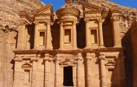 Vue sur Petra en Jordanie patrimoine culturel UNESCO